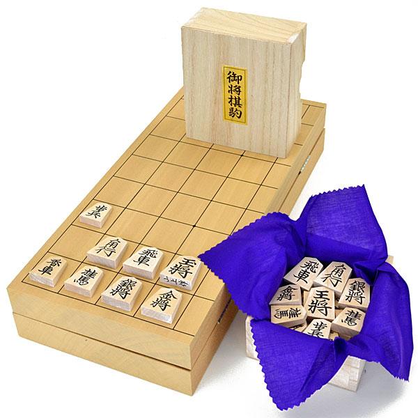 木製将棋セット 新桂10号折将棋盤セット(木製将棋駒楓上彫駒)