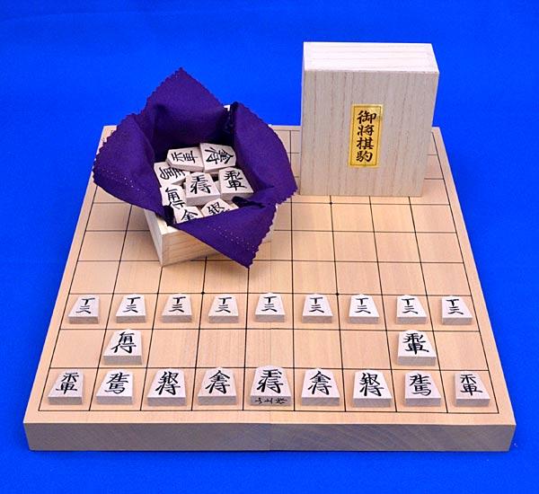 将棋セット 新桂10号折将棋盤セット(木製将棋駒楓並彫駒)