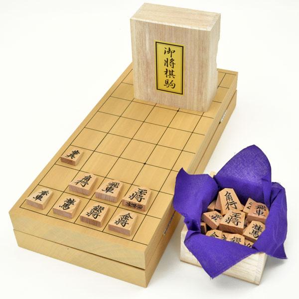 木製将棋セット 新桂10号折将棋盤セット(木製将棋駒斧折上彫駒)
