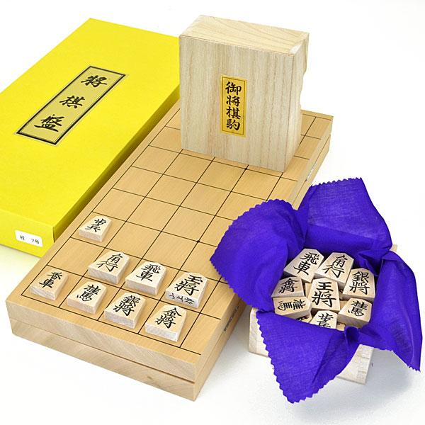 木製将棋セット 本桂7号折将棋盤セット(木製将棋駒楓上彫駒)