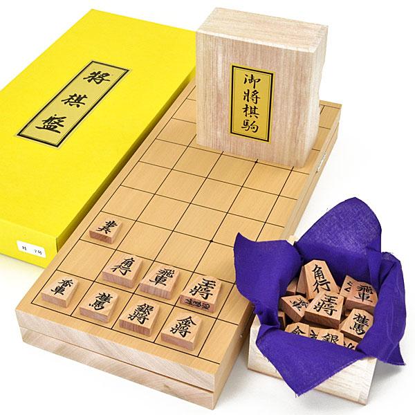 木製将棋セット 新桂7号折将棋盤セット(木製将棋駒斧折上彫駒)