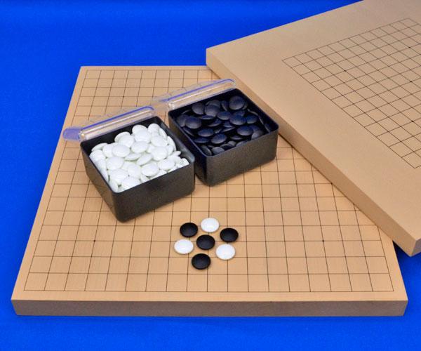 囲碁セット 13路19路両用新桂1寸卓上碁盤セット(ガラス碁石椿・プラ角箱)