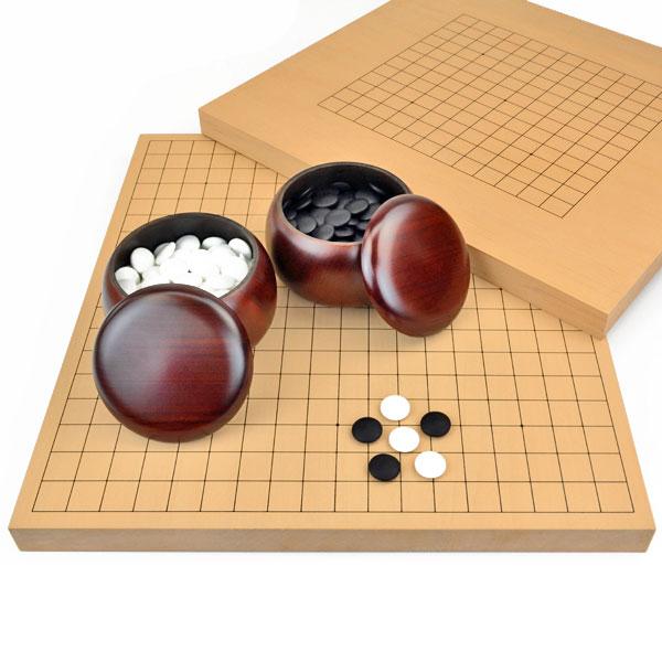 囲碁セット 13路19路両用新桂1寸卓上碁盤セット(ガラス碁石梅・プラ銘木大)