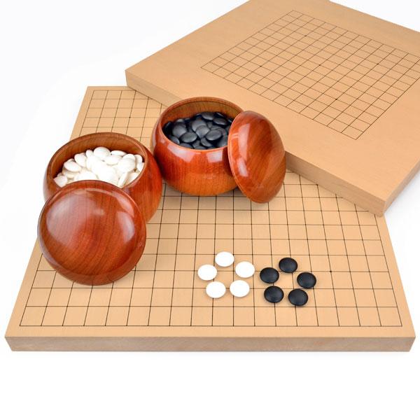 囲碁セット 13路19路両用新桂1寸卓上碁盤セット(蛤碁石28号・桜碁笥大)