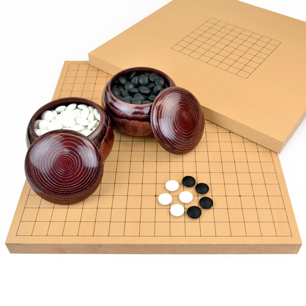 (約9mm厚) 囲碁セット 国産とP碁笥銘木大 新かや2寸卓上接合碁盤竹と赤ラベル竹碁石