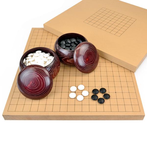 囲碁セット 9路19路両用新桂1寸卓上碁盤セット(蛤碁石25号・栗碁笥大)