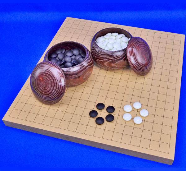 囲碁セット 新桂1寸卓上碁盤セット(ガラス碁石梅・栗碁笥大)