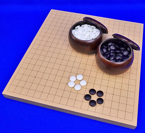 囲碁セット 新桂1寸卓上碁盤セット(ガラス碁石梅・プラ銘木大)