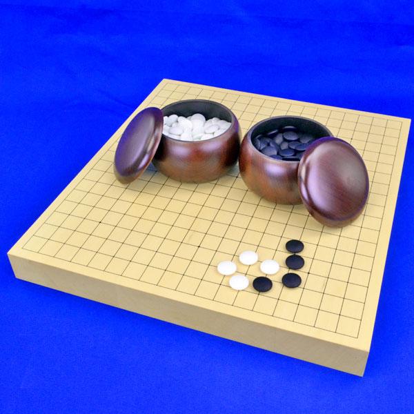 囲碁セット ヒバ1寸5分卓上碁盤セット【特売品】(ガラス碁石梅・プラ銘木大)