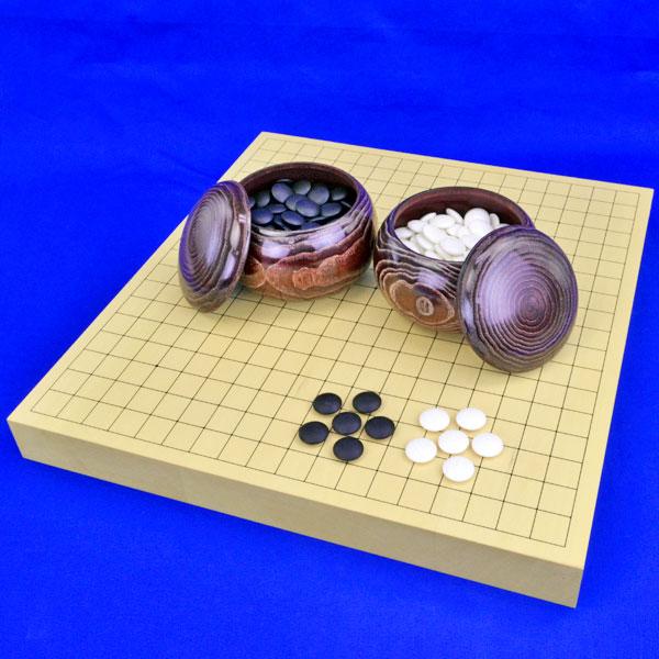 囲碁セット ヒバ1寸5分卓上碁盤セット【特売品】(蛤碁石25号・栗碁笥大)