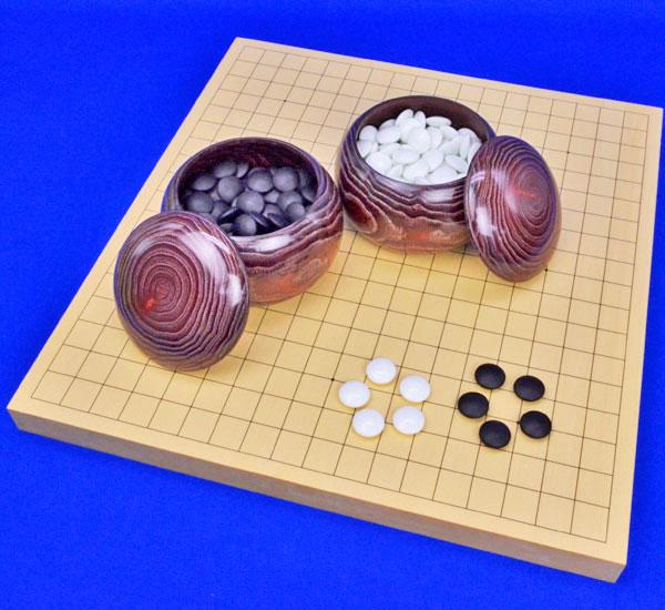 囲碁セット ヒバ1寸卓上碁盤セット(ガラス碁石梅・栗碁笥大)