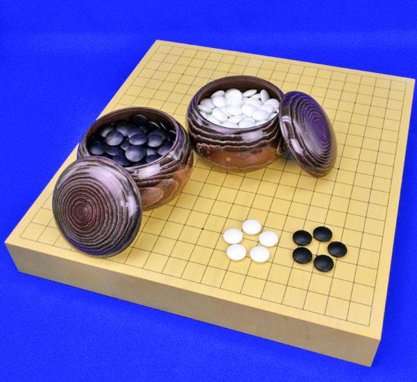 囲碁セット ヒバ2寸卓上碁盤セット(ガラス碁石梅・栗碁笥大)