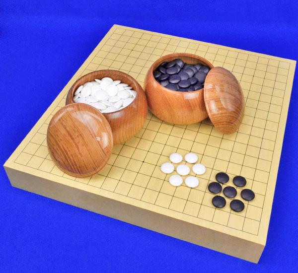 囲碁セット ヒバ2寸卓上碁盤セット(蛤碁石28号・欅碁笥大)