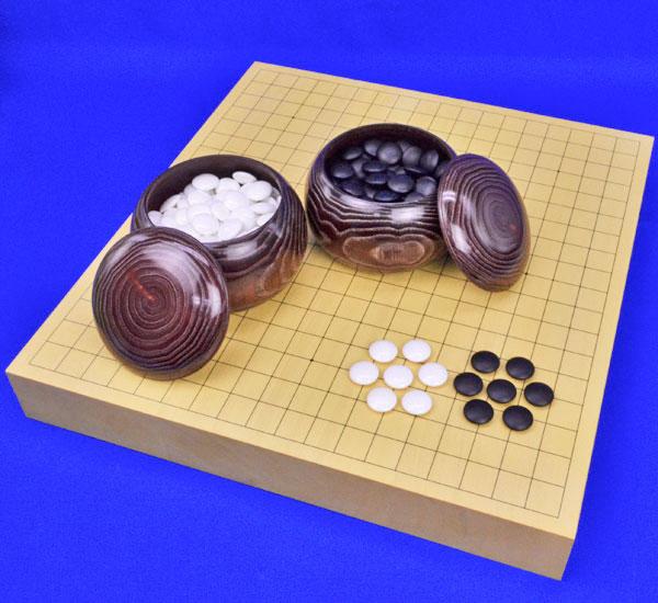 囲碁セット ヒバ2寸卓上碁盤セット(蛤碁石25号・栗碁笥大)