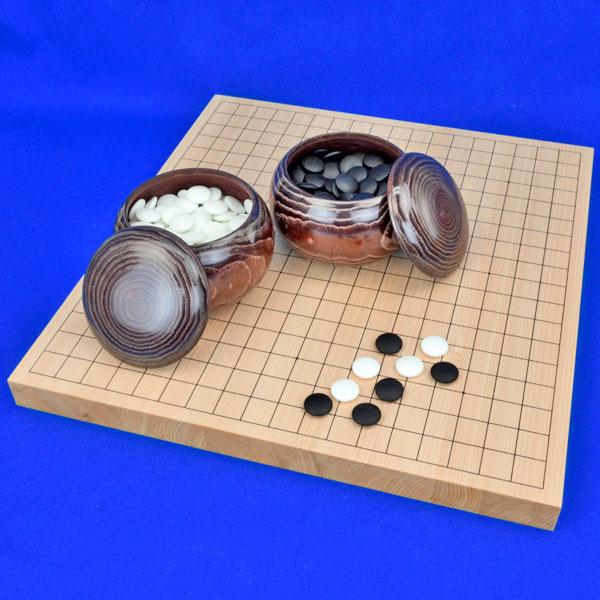 囲碁セット 国産桧1寸卓上碁盤セット(ガラス碁石梅・栗碁笥大)