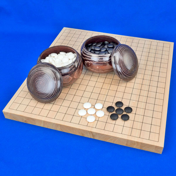 囲碁セット 国産桧1寸卓上碁盤セット(蛤碁石25号・栗碁笥大)