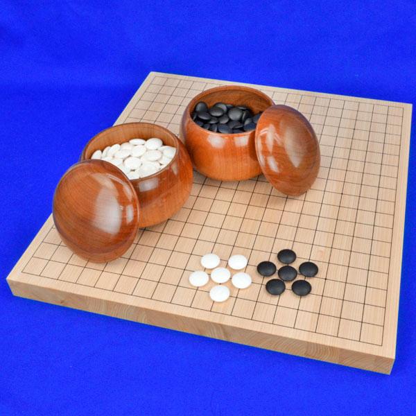 囲碁セット 国産桧1寸卓上碁盤セット(蛤碁石28号・桜碁笥大)