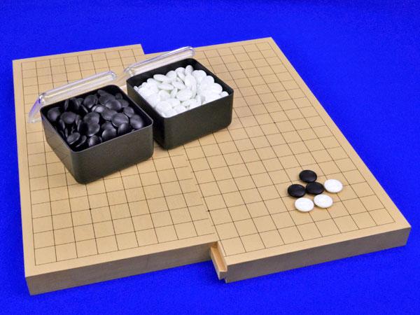 囲碁セット 19路9路スライド囲碁盤セット(ガラス碁石椿・プラ角箱)