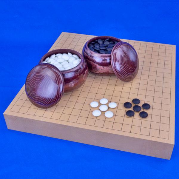 囲碁セット 新桂2寸ハギ卓上碁盤セット(ガラス碁石竹・栗碁笥特大)