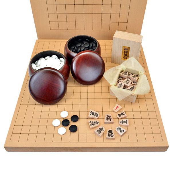 囲碁将棋両用卓上盤新桂1寸セット(ガラス碁石梅・プラ碁笥・アオカ押し駒)