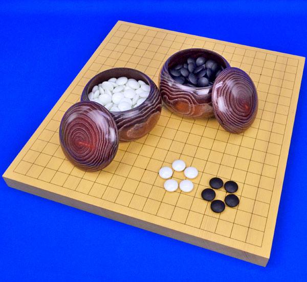 囲碁セット 新かや1寸卓上碁盤セット(ガラス碁石梅・栗碁笥大)