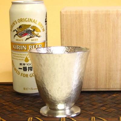 父の日ギフトに 錫 タンブラー 大阪錫器 リーフ コケット(大)錫製 錫器 ビールタンブラー 還暦 還暦祝い 退職祝い 酒器 記念品