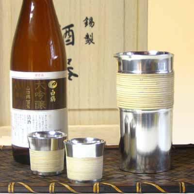 大阪錫器 籐巻き酒瓶セット お猪口 錫製品 酒器 酒器セット 退職祝 還暦祝 結婚祝い 内祝い