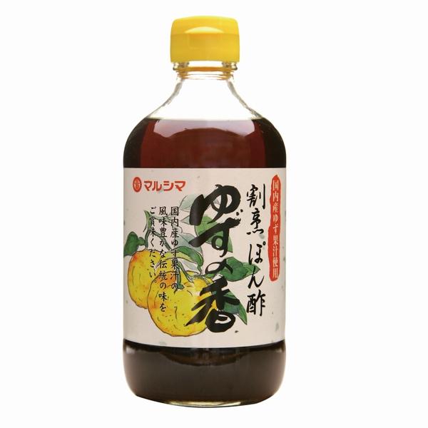 ゆず果汁アップ。ゆずが効いてるポン酢。 マルシマ 割烹ぽん酢 ゆずの香 400ml
