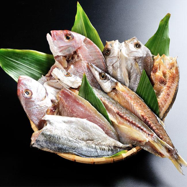 玄界灘の新鮮魚の一夜干しCセットー4種8枚セット化粧箱入り 産地直送 クールチルド便関東以北は送料プラス