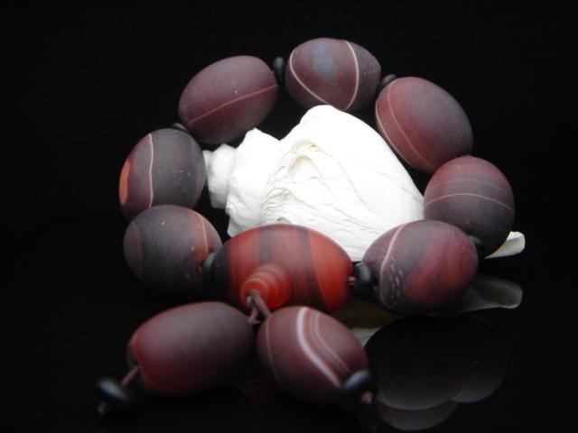 【老瑪瑙シリーズブレスレット】●タンブル老瑪瑙●飾り付●天然石・パワーストーン●送料無料有●重み有る