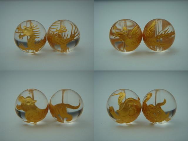 彫刻ビーズ12mm 手彫り金箔入り風水四神獣本水晶 日本限定 粒売り ふるさと割 最強風水 天然石 パワーストーン 即日発送可能