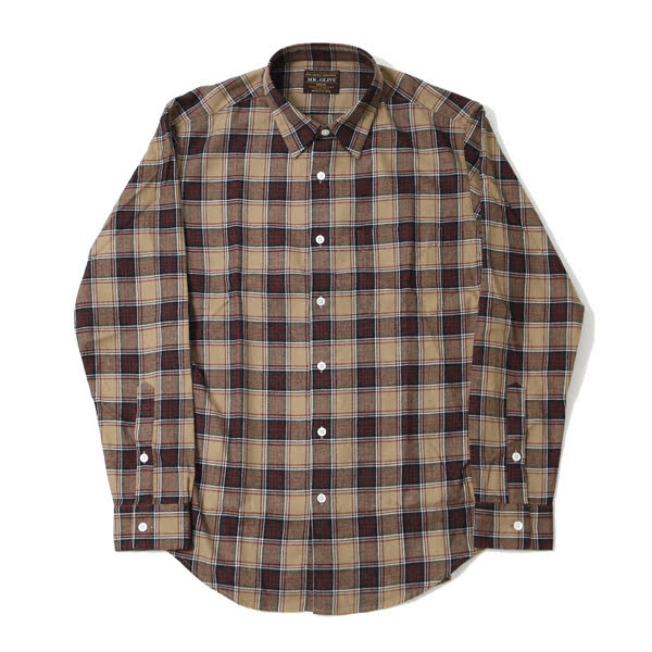 【MR.OLIVE:ミスターオリーブ】M-18313BRITISH CHECK LIGHT NEL / NO CREST LEGULAR COLLAR SHIRT【smtb-TK】