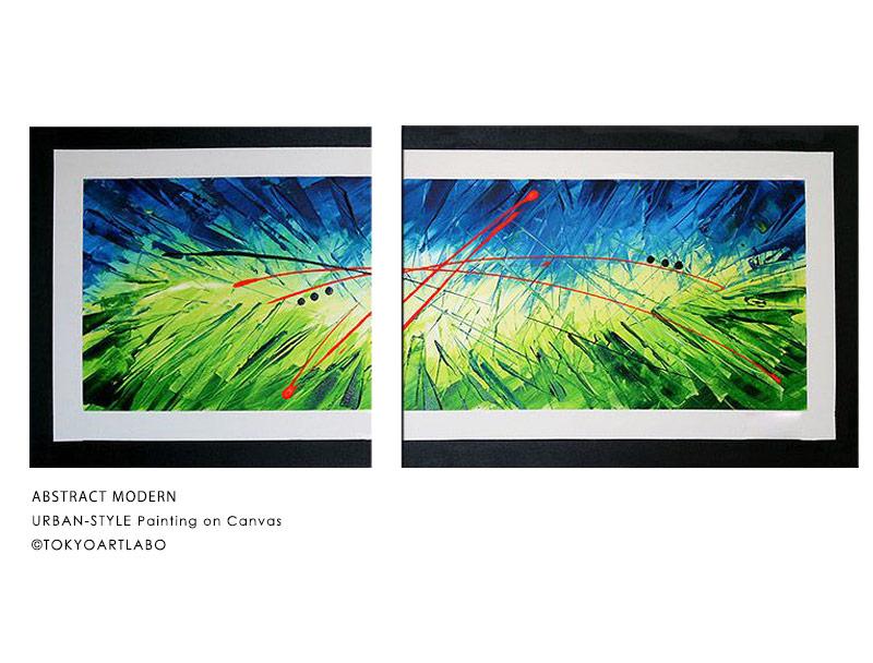 絵画 インテリア アートパネル /90cmx60cm 60cmx60cm 各1枚 2枚組/モダン おしゃれ 壁掛け アート 横長 緑色 抽象画