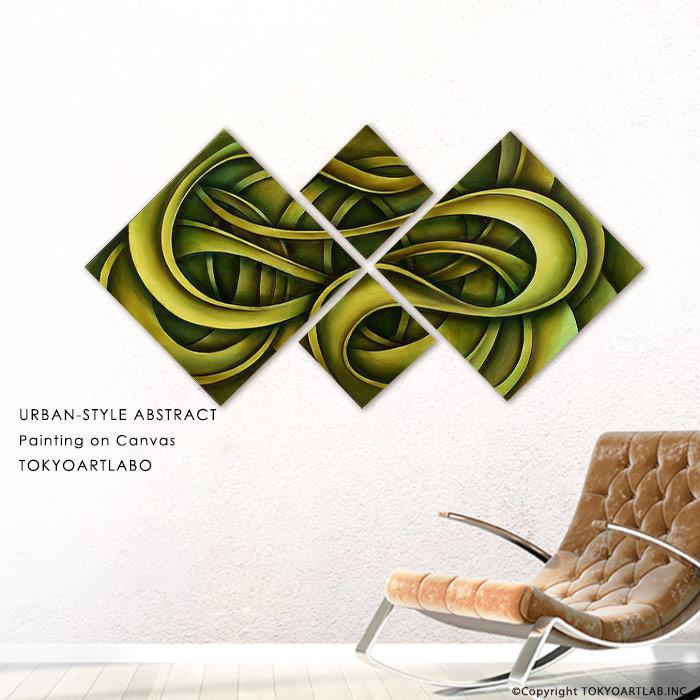 絵画 インテリア おしゃれ 壁掛け 絵 油絵 4枚組 アートパネル 入口 玄関 エントランス 内装用 ホテル ショップディスプレイ 緑色