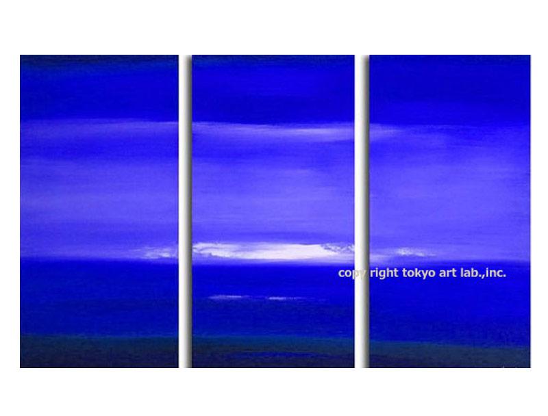 絵画 海 インテリア 壁掛け「落ち着いた色合いが高級感を演出」アートパネル スパ カフェ サロン 大きめ 店舗装飾 軽量 青 3枚組 抽象画