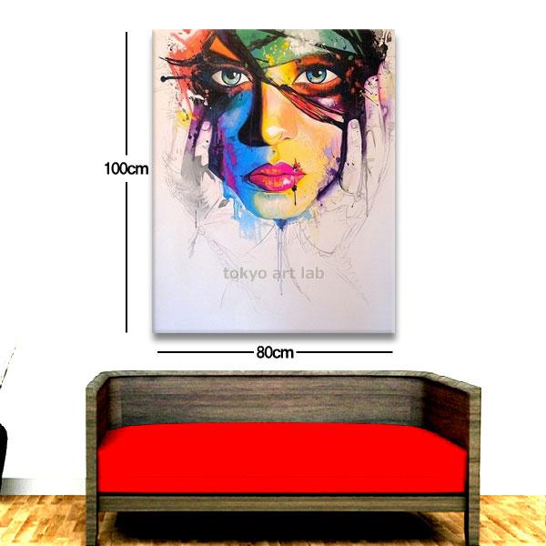 スタイリッシュな壁面装飾用絵画大型100cmx80cm ビビッド ポップアート【アートパネル】モダンリビング・美容室(サロン)アパレルショップなどの業務用にもご利用下さい!