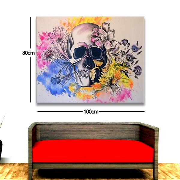 スタイリッシュな壁面装飾用絵画 ビビッドカラーの新作アート スカルモダンリビング・美容室(サロン)アパレルショップなどの業務用にもご利用下さい!大型100cmx80cm