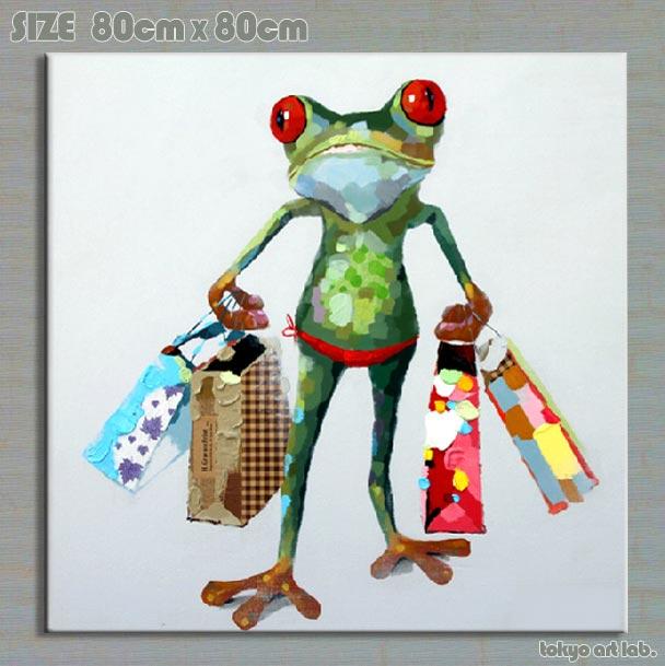 絵画【オイルペイントアート】 油絵Enjoy! art『ショッピング★』【額無し】 壁掛け インテリア 壁 壁飾りポップな色彩で人気です!【ファブリック】