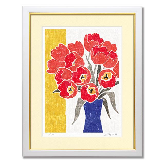 赤い花の絵 絵画 おしゃれ 壁掛け 絵 インテリア【青の花瓶と赤いチューリップ】風水 玄関 新居 新築 お祝い プレゼント用 アートフレーム 額入り チューリップ