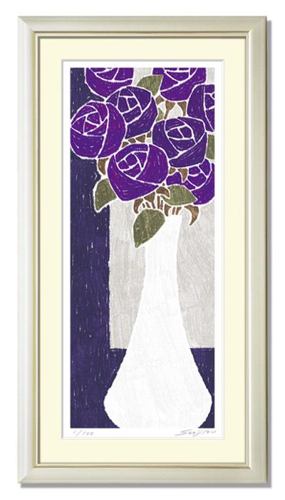 紫の花の絵 シックでおしゃれな雰囲気 壁掛け 絵 インテリア【白の花瓶と紫の薔薇】玄関に飾る絵 新居 新築 お祝い プレゼント用 縦長 風水 母の日
