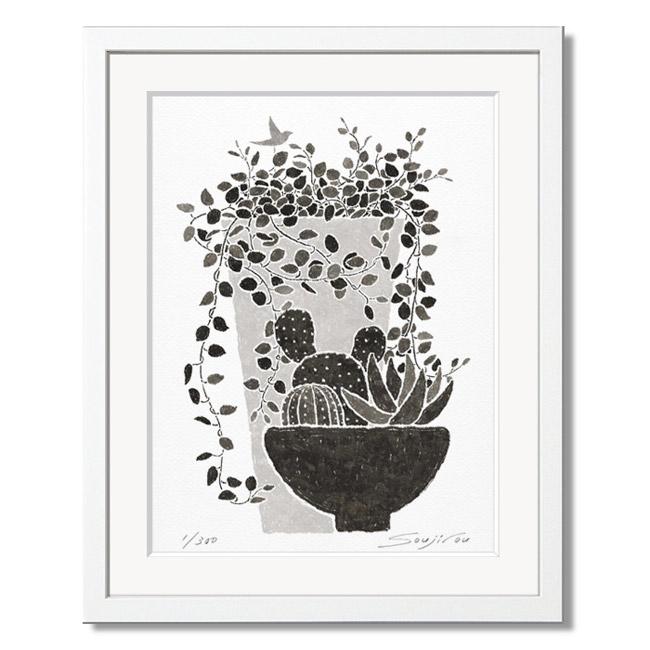 絵画 モノクロ 壁掛け インテリア ワイヤープランツと多肉植物白額 四切おしゃれ 絵 花 アートパネル モノトーン プレゼント お祝い ギフト 父の日 母の日