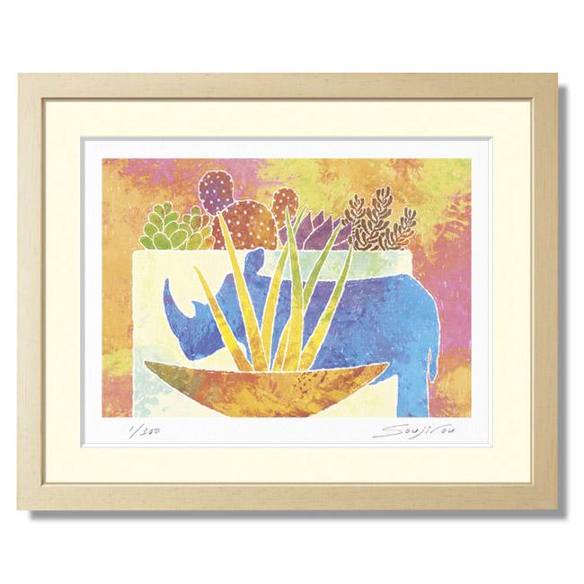 """[把犀牛的陈设品和sanseberia和多肉类植物送到,栽种]SOUJIROU ART G粘土版画""""淡薄的彩色粉笔调子受欢迎""""的风水门口绘画版画彩色粉笔pastel绘画"""