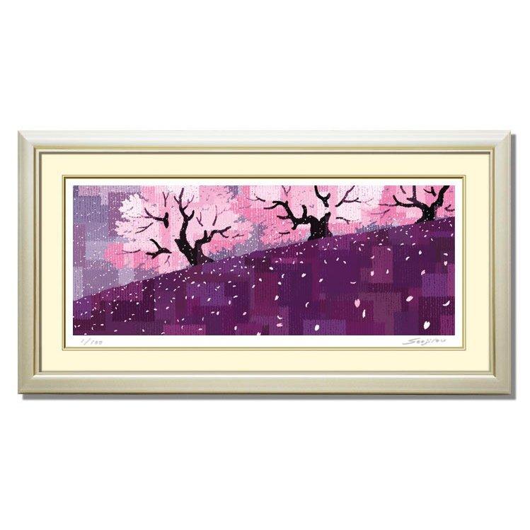 絵画 インテリア 壁掛け 額入り 額絵【桜吹雪(さくらふぶき)】落ち着いた紫色の装いが和モダンな雰囲気を演出絵画販売 東京アートラボ 母の日