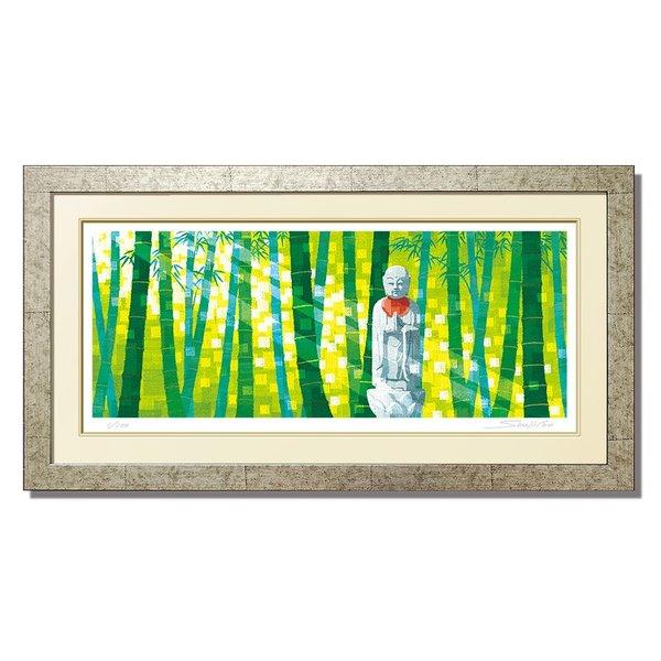 【合掌】絵画 インテリア おしゃれ 壁掛け 和モダンお地蔵さま 絵画 アート 和室の装飾 緑 新緑 母の日