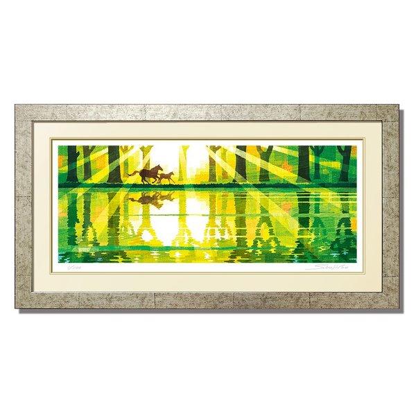 絵画【湖畔を駈ける】和 モダン 新作 和風 和 馬 森林 湖畔 風景画 版画 絵 アート和室 新築祝い 退職祝い 金婚 銀婚祝い 内祝い 風水 緑 新緑 母の日
