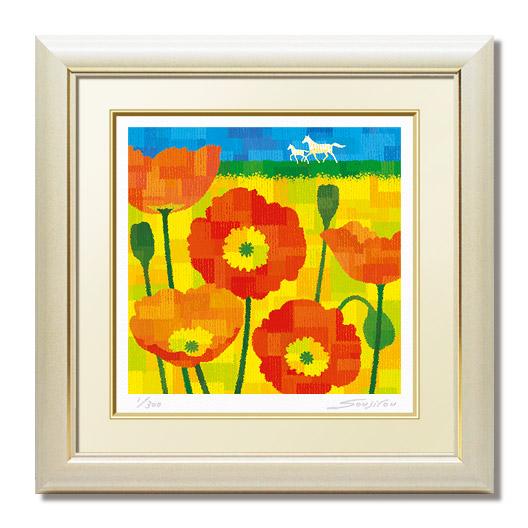 一歩ずつ絵画 激安セール 版画 玄関 リビング 額入り 蔵 花の絵 プレゼント お祝い アート インテリア 和室 床の間 洋間 壁