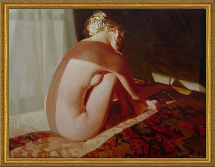 絵画 裸婦画【追憶 2】30号サイズ/国産額付き 直筆 人物画VIPルームなど特別な空間の演出。ラウンジ・バーなどの業務用ディスプレイに。
