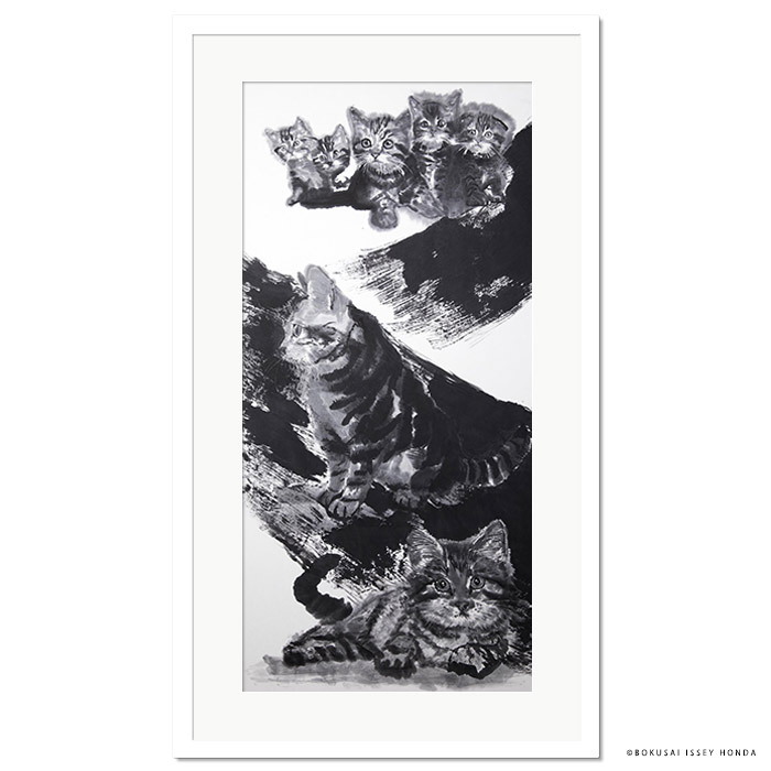 【夢想】猫 絵画 壁掛け インテリア 水墨画 1050x600mm 縦長 モダン 白黒 おしゃれ 絵 応接室 事務所 複製品 墨彩【本田一誠】屏風絵 左