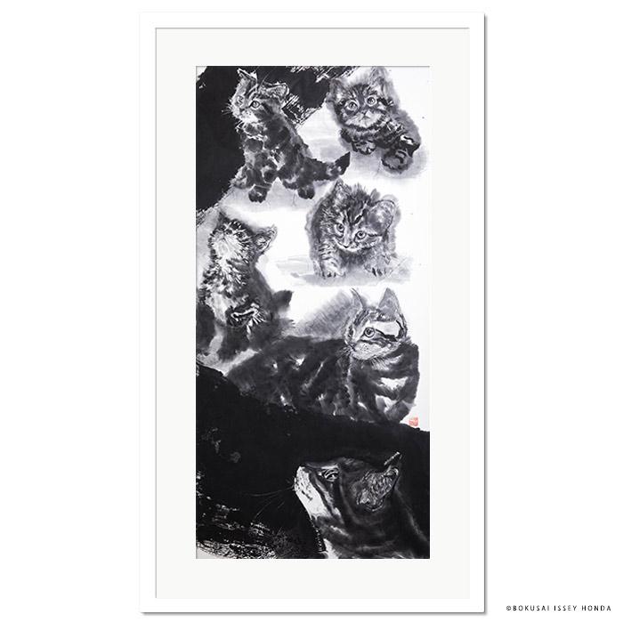 【夢想】猫 絵画 壁掛け インテリア 水墨画 1050x600mm 縦長 モダン 白黒 おしゃれ 絵 応接室 事務所 複製品 墨彩【本田一誠】屏風猫絵 右 夢想2