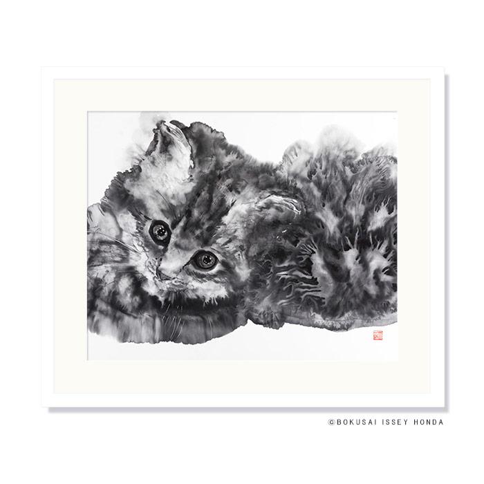 【陽だまり 2】絵画 猫 850×720mm モノクロ おしゃれ 壁掛け 絵 事務所 応接 床の間 レプリカ 墨彩【本田一誠】